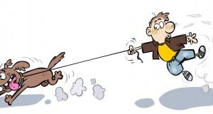 Cartoon Dog pulling Man